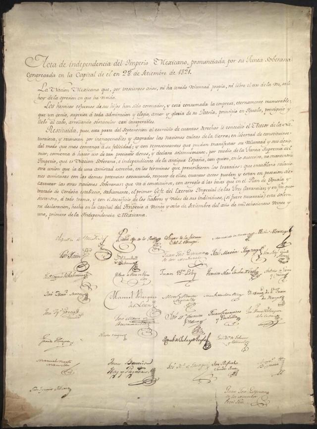 Acta de Independencia de Mexico, 27 de septiembre de 1821