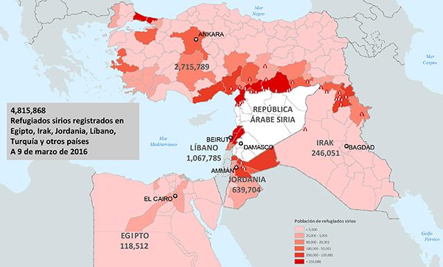 Mapa de refugiados sirios. Primer trimestre de 2016.